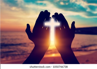 Human hands open palm up worship