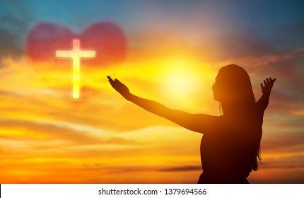 Human hands open palm up worship. Eucharist Therapy Bless God Helping Repent Catholic Easter Lent Mind Pray. Christian Religion concept background. fighting and victory for god          - Image
