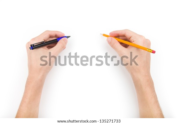 Human hands with pen and pencil with space for text