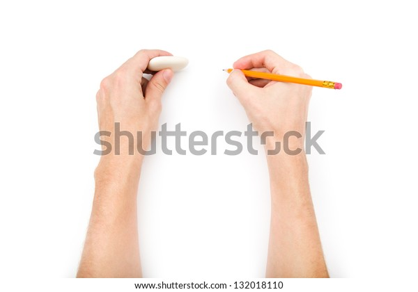 Human hands with pencil and eraser isolated on white background with shadows
