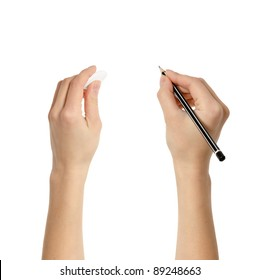 Human hands with pencil and eraser rubber writing something isolated on white background