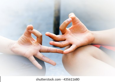 Human Hands in the position of Yoga,.