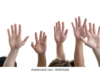 Human hands raised up, isolated on white