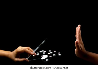 "Human hands ""say no"" for Stop drug addiction concept, Do not interfere with drugs, International Day against Drug Abuse."