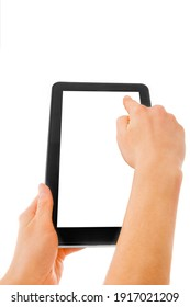 in human hands tablet computer touch-screen gadget with isolated