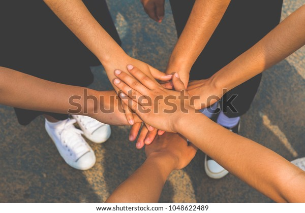 Human Hands Unity Their Hands Together Stock Photo (Edit Now) 1048622489