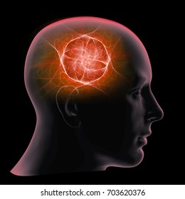 human head with brain and black background-3D illustration