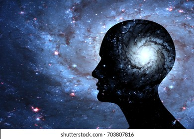 Human head with brain and space-3D illustration , space of Elements of this image furnished by NASA