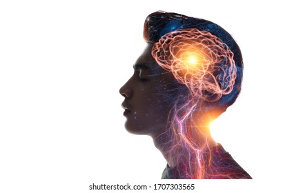 Human head and brain.Deep learning , Machine learning and artificial intelligence , AI Technology, thinking concept.