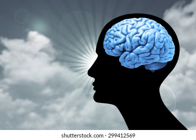human head with brain,sky.sun and clouds background