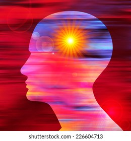 human head colored and sun background
