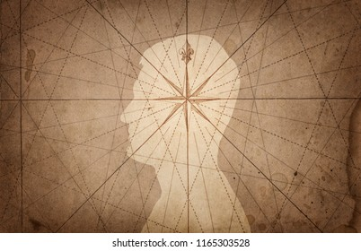 Human head and compass. The concept on the topic of navigation, psychology, morality, etc.