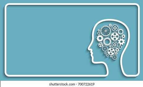 Human head creative frame with set of gears as a symbol work of brain,  background for your design