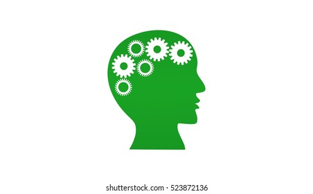 Human head with gears white background