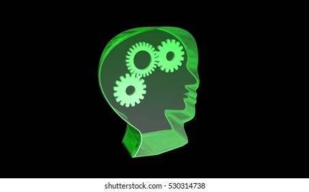 Human head with gears white background,green