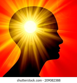 human head with light and sun background