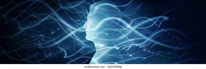 Human head and moving lights, speed motion in background. Concept on business, science, technology, education, medicine, religion  etc. Universal idea for your design.