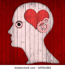human head with pink gears and heart