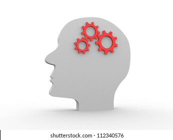 Human head profile with gears - this is 3d render