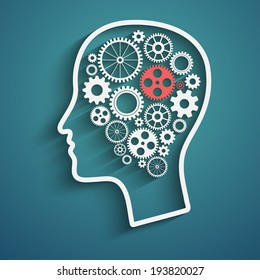 Human head  with set of gears as a symbol work of brain