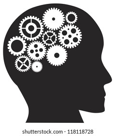 Human Head Silhouette with Metal Mechanical Gears Raster Vector Illustration Isolated on White Background