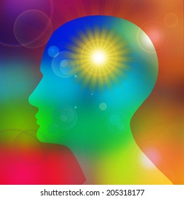human head with  sun and rays background