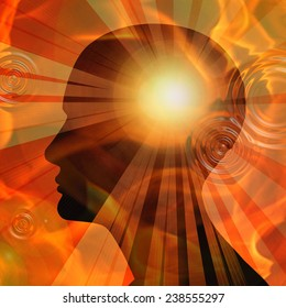 human head sun sky and rays background