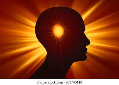 human head sun,and rays background