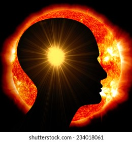 human head ,sun,space of Elements of this image furnished by NASA