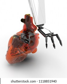 Human heart 3d model with a robot hand 3d rendering