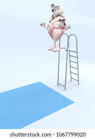human heart with arms and legs on trampoline dip in the pool, 3d illustration