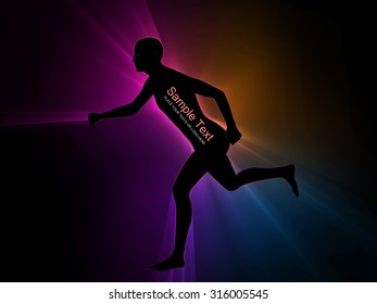 human illustration with ray of light on black background
