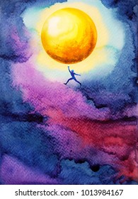 human jump high up to catch bright yellow ful moon in dark sky night, dream illustration watercolor painting design