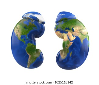 Human Kidneys with World Map. World Kidney Day Concept. 3D rendering