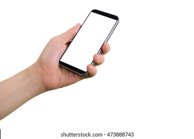 human left hand hold smart phone, tablet, cellphone with white blank screen on isolate white background.