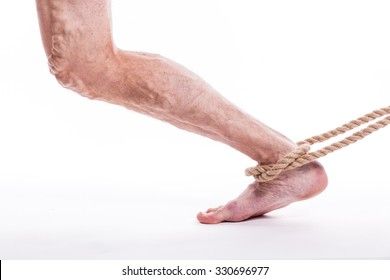 human leg with blocked veins, thrombosis, phlebitis, and standing on a white background, with depth of field Photo
