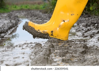 Human leg with Yellow Muddy rubber boots on wet silt