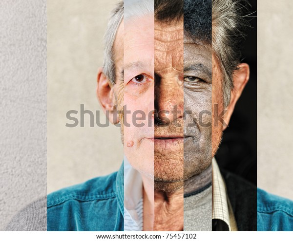 Human male face made of several different people, artistic concept vertical collage