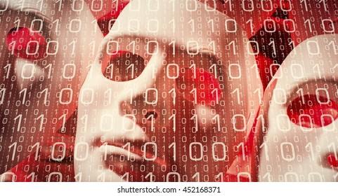 Human mask computer binary data hacker cyber attack metaphor