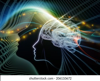 Human Mind series. Arrangement of brain, human outlines and fractal elements on the subject of technology, science, education and human mind