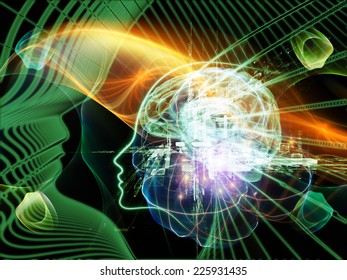 Human Mind series. Backdrop composed of brain, human outlines and fractal elements and suitable for use in the projects on technology, science, education and human mind