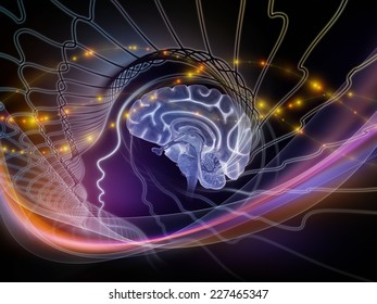 Human Mind series. Design composed of brain, human outlines and fractal elements as a metaphor on the subject of technology, science, education and human mind