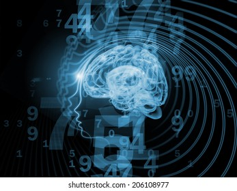 Human Mind series. Design made of brain, human outlines and fractal elements to serve as backdrop for projects related to technology, science, education and human mind
