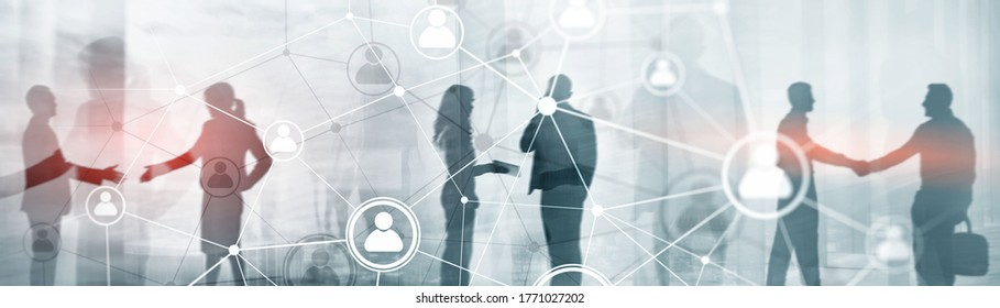 Human network map or people connection. Panoramic banner 2020.