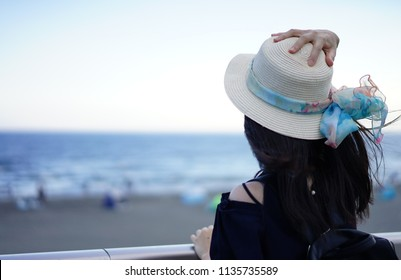 A human on the beach in Kanagawa