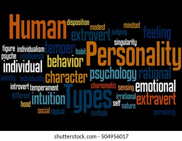 Human Personality Types, word cloud concept on black background.