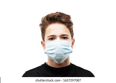 Human population virus, infection, flu disease prevention and industrial exhaust emissions protection concept - teenager boy wearing respiratory protective medical mask white isolated