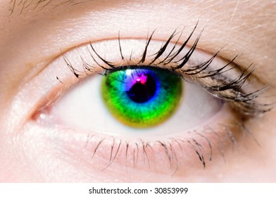 Human Rainbow eye. macro shooting