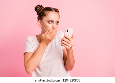 Human reactions concept. Portrait of astonishment, impressed, stylish, trendy youngster look at phone screen make wow face, cover mouth by hand
