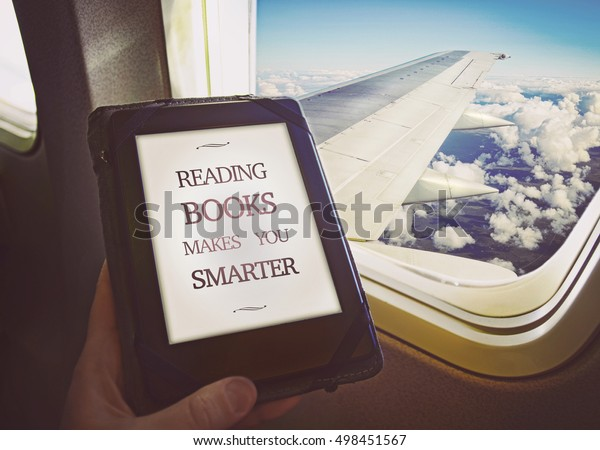 Human reading book inside airplane. Concept art